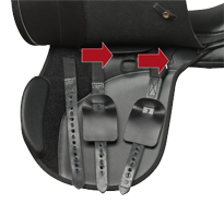Saddle showing changeable stuffing points